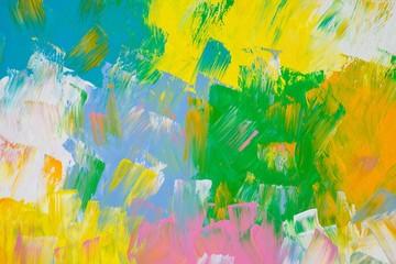 Hintergrund in Weiß, Blau, Grün, Hellblau, Orange und Gelb auf Leinwand, Gouache-Farbe