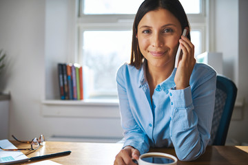 Smiling happy young businesswoman working at home
