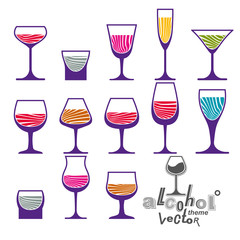 Classic vector goblets collection,martini, wineglass, cognac