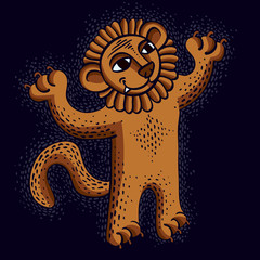 Vector drawing of happy orange lion holding its paws up.  Illustration