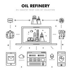 Modern petrol industry thin block line flat icons