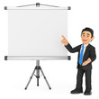 3D Businessman with a blank projector screen