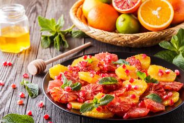 Homemade Citrus Salad with Grapefruit and Oranges.
