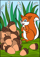 Children games: Find differences. Little cute squirrel stands on the grass and looks at the pile of acorns.