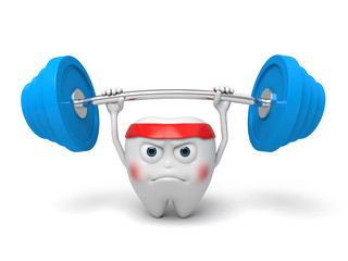 The tooth lifted the barbell