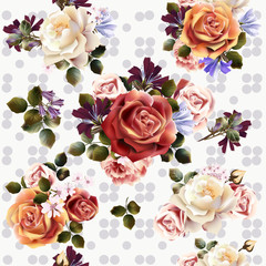 Vector seamless background or pattern with rose flowers in retro