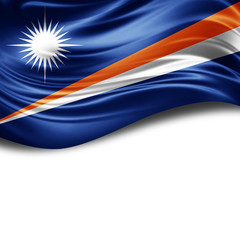 Marshall Islands flag of silk with copyspace for your text or images and White background