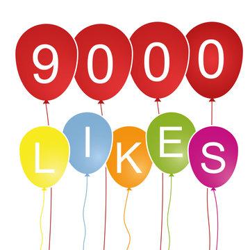9000 Likes - Luftballons