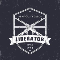 vintage grunge t-shirt design, emblem with automatic rifles, two crossed guns, vector illustration
