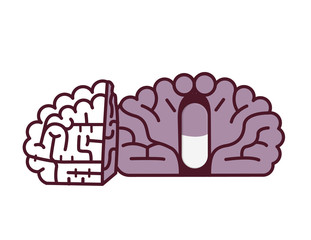 Pill in brain illustration.Placebo concept.