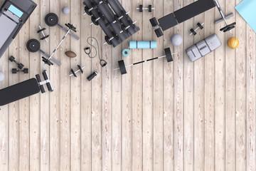 Branding mock up floor room with sports equipment.