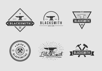 White and black blacksmith logo set