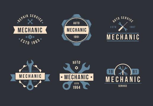 Mechanic logo set