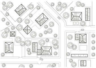 Linear architectural sketch general plan of village
