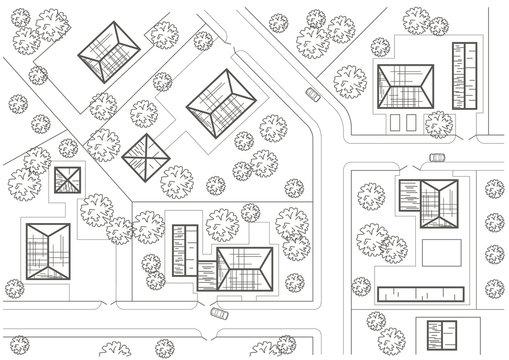 Linear architectural sketch general plan of village