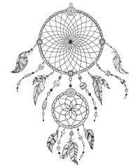 Hand drawn illustration of american indian tribal dream catcher