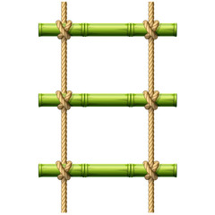 Bamboo rope ladder - crossbeams connected with knots