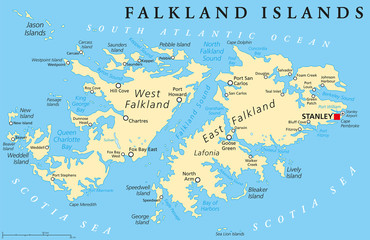 Falkland Islands, also Malvinas, political map with capital Stanley, administered under United Kingdom, claimed by Argentina. English labeling and scaling. Illustration. Wall mural