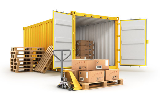 open container pallets with boxes and hand truck isolated on whi