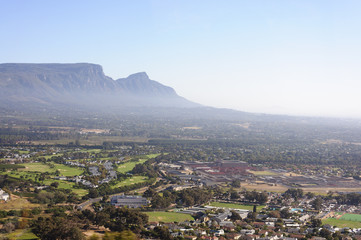 Table mountain scenery in the mist, Cape Town, South Africa