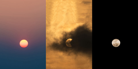 The Sun at daytime, The Moon covering the Sun in a partial eclipse with dramatic cloud and the moon at night Scientific background, astronomical phenomenon
