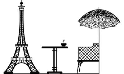 Cafe near the Eiffel Tower vector