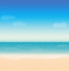 Summer holidays vector background with sea and beach