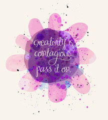 Creativity Inspirational Poster - Motivational poster with watercolor texture and paint splashes on abstract whimsical flower