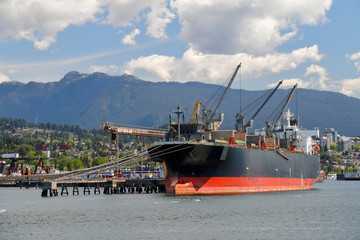 Large bulk carrier in Vancouver Harbour