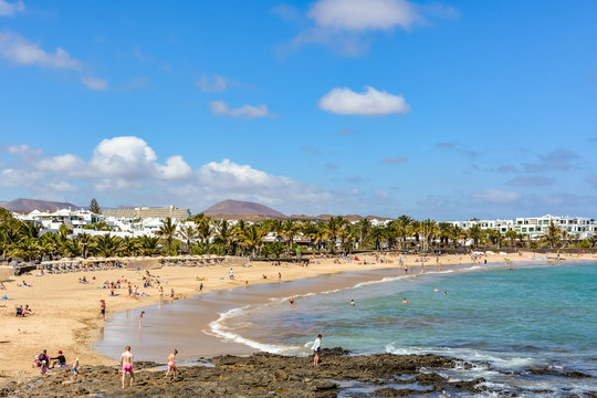 View of Costa Teguise, a touristic resort on Lanzarote island, Spain