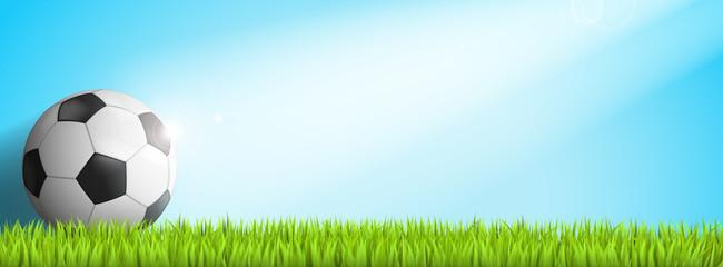 Banner Fussball in Sonnenstrahl auf Rasen