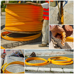 Collage large reel for cable conduits for fibre optics for ADSL connection