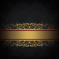 Decorative background with floral patterns and gold border.