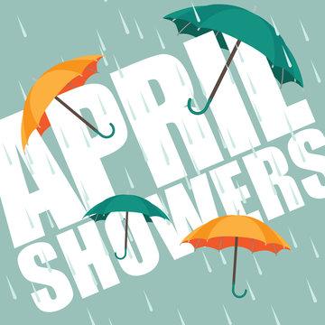 Umbrellas in the rain. April showers. EPS 10 vector.