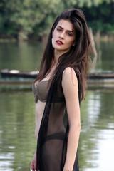 women bikini river