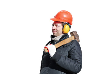 Worker with big sledge hammer on the shoulder isolated