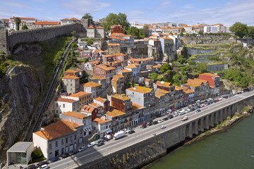 Aerial view of picturesque houses in historic centre of Porto, P