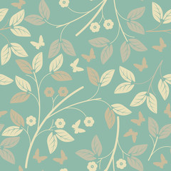 Seamless  pattern with elegant petals and butterflies
