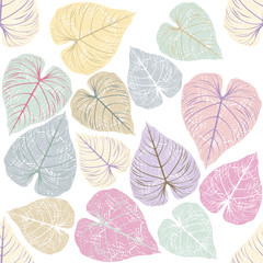 Seamless Pattern with stylish leaves