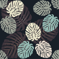 Seamless pattern with tropical monstera leaves