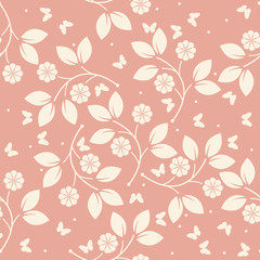 Stylish endless pattern with butterflies, flowers and leaves