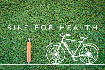 bike for health drawing on grass background