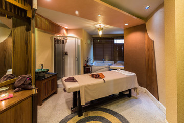 Massage room in a spa salon
