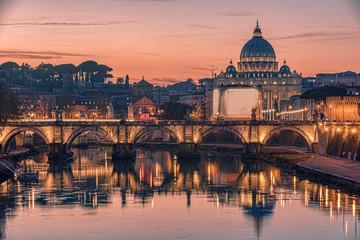 Fototapete - Rome, Italy: St. Peter's Basilica, Saint Angelo Bridge