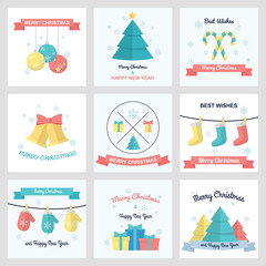 vector christmas and new year card in flat design