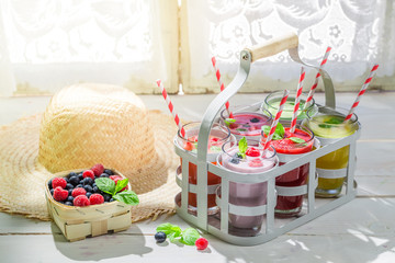 Homemade cocktail with fruity yogurt