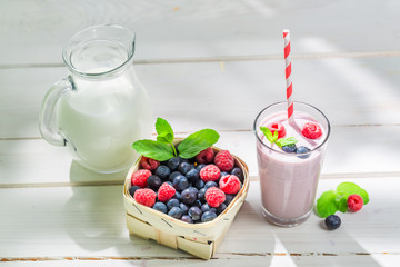 Homemade cocktail with fruits