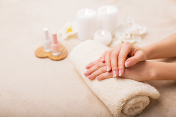 French manicure at spa studio