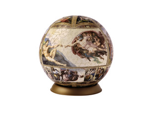 Puzzle globe with Michelangelo picture.