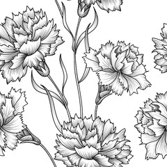 Floral seamless pattern. Flower background. Floral sketch texture